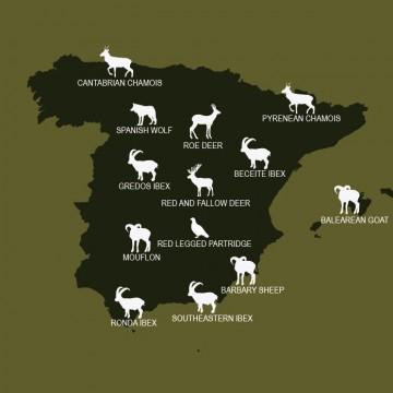 Map hunting species in Spain